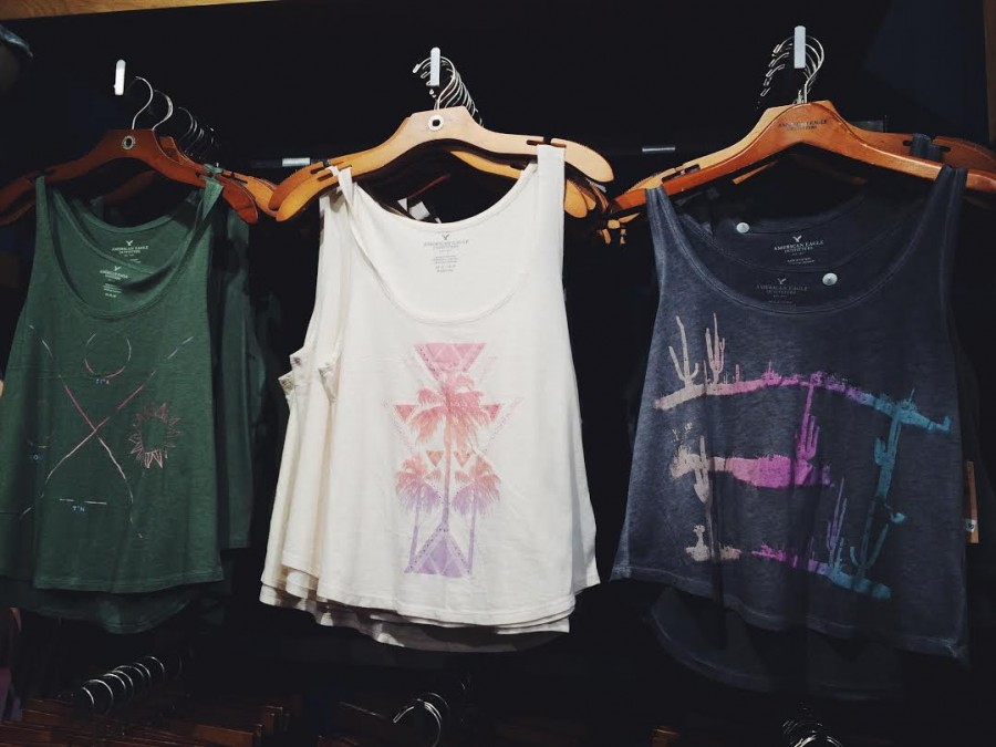 American Eagle light weight graphic tanks starting at $14.99.
