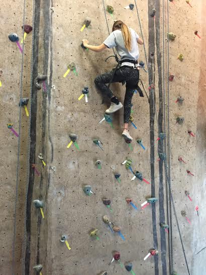 Roslynn Amparano climbs one of the beginning walls in no time.