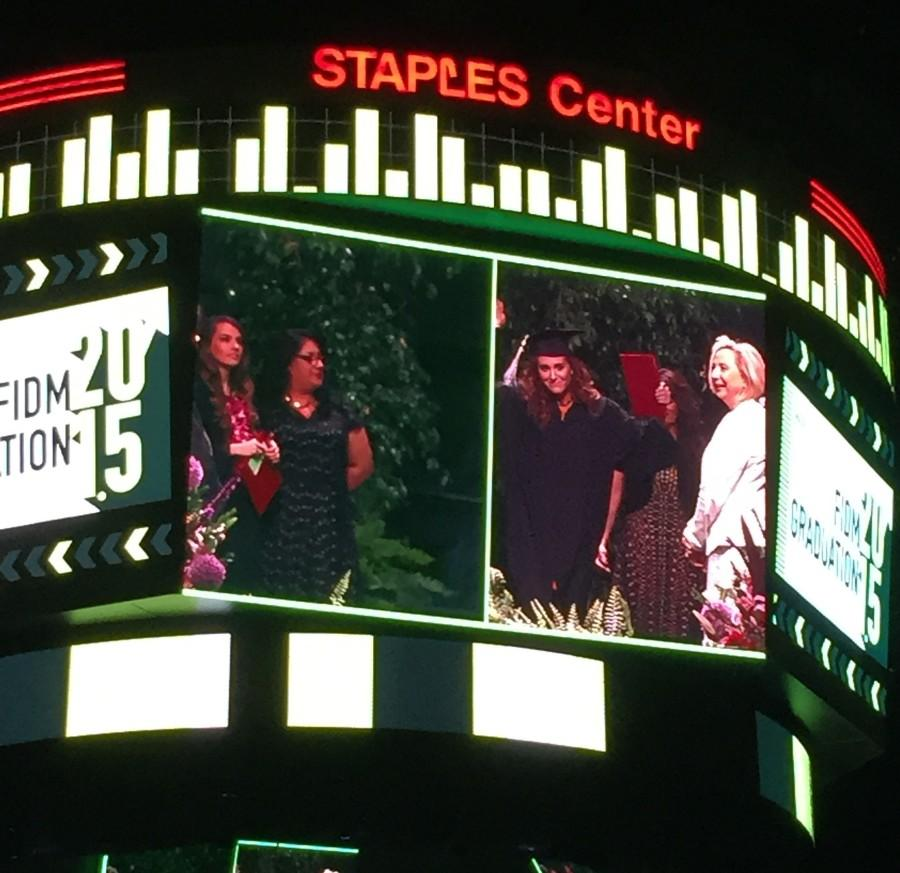 To optimize time, FIDM showed two graduates on the screen at the same time.