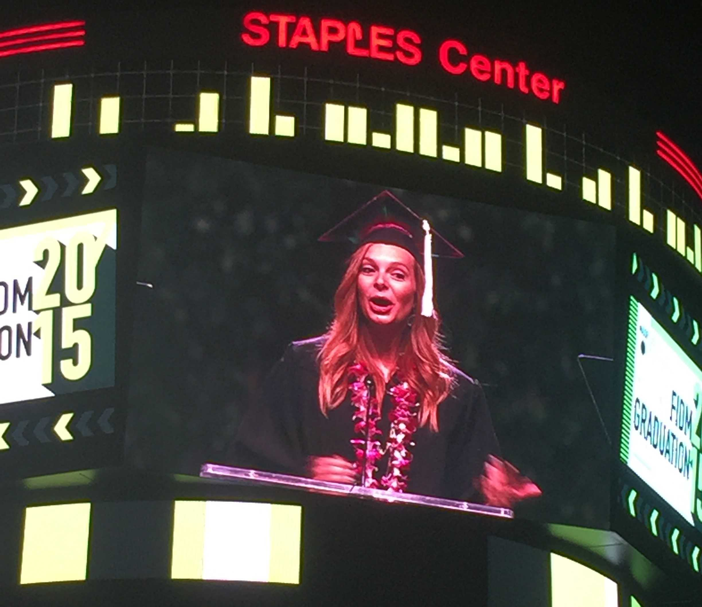 Cassily giving a moving but humorous Valedictorian Address.