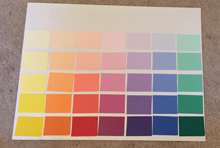 Lay out all the colors before you tape them down.
