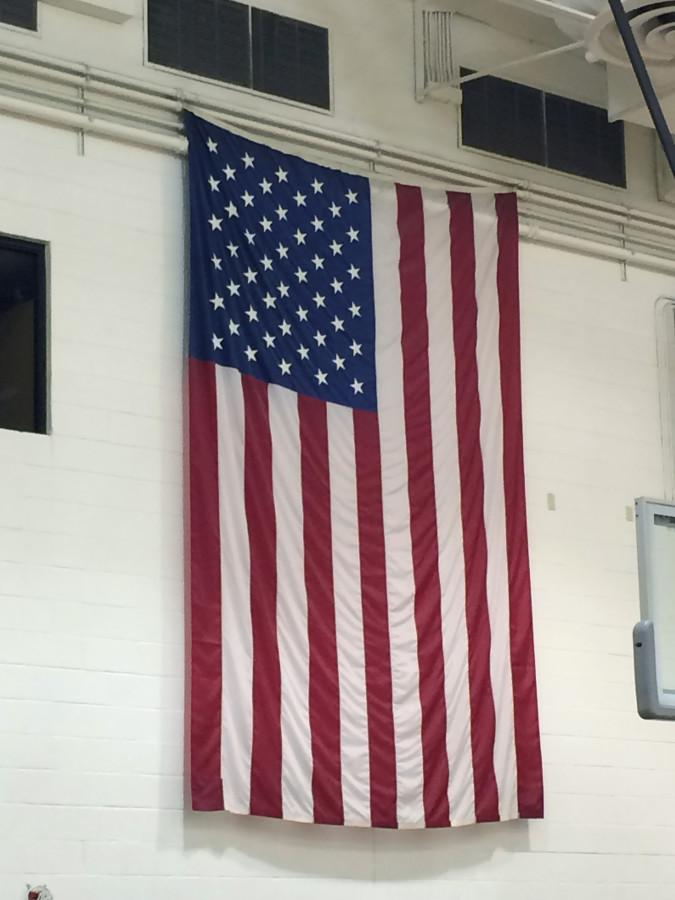 The American Flag hanging proudly over the gym.