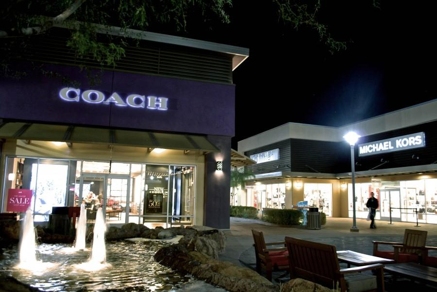 An outdoor mall here in Phoenix, AZ That still has people strolling through even by night.