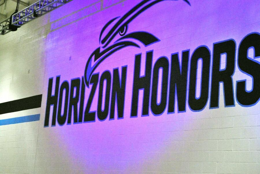 The new Horizon Honors logo shines bright after its big reveal at the pep-rally.