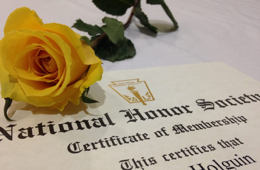 National+Honor+Society+Rose+Lays+on+Certificate+of+an+Inductee.