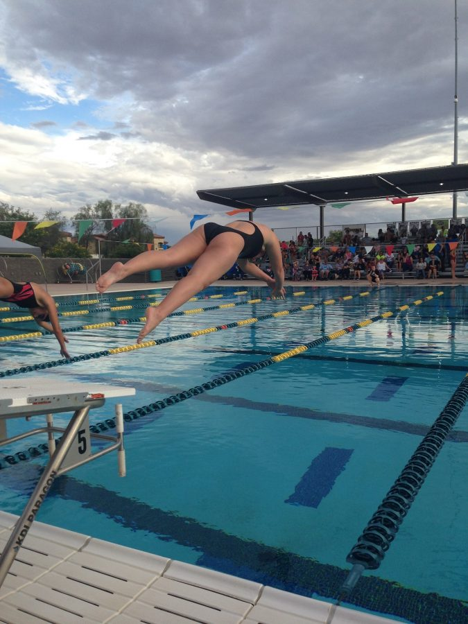 Freshman+Caileigh+Burdette+dives+into+the+pool+to+start+her+race.