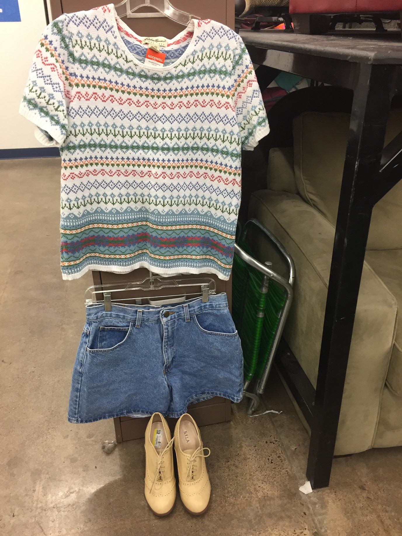 This+outfit+is+my+favorite+out+of+the+eight.+The+knit+shirt+costs+%244.99%2C+the+high-waisted+shorts+cost+%245.99%2C+and+the+shoes+cost+%249.99%2C+bringing+the+whole+outfit+to+%2420.97.
