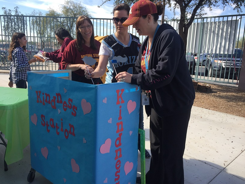 Guidance counselors Mrs. Collins and Mrs. Wallace, along with 8th grade teacher Mrs. Baird, set up the kindness station.