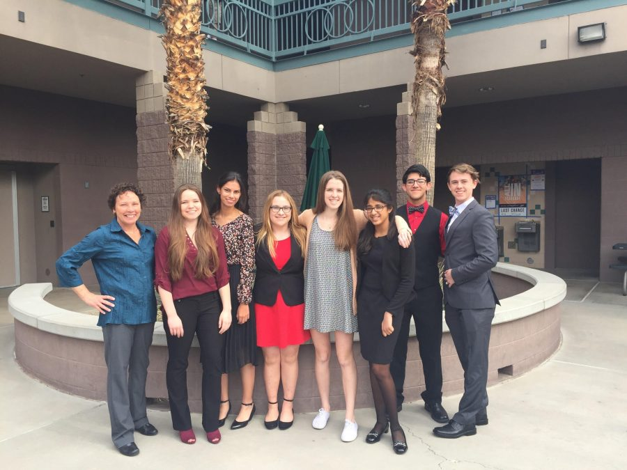 Club sponsor Michaela Burns, freshman Allison Hale, freshman Nicole Johnson, freshman Hannah Browning, senior Kelleigh Hogan, freshman Mahika Goel, senior Cameron Vega, and senior Cameron Noble went to Mesa Community College for Horizon Honor's first Model Un conference.