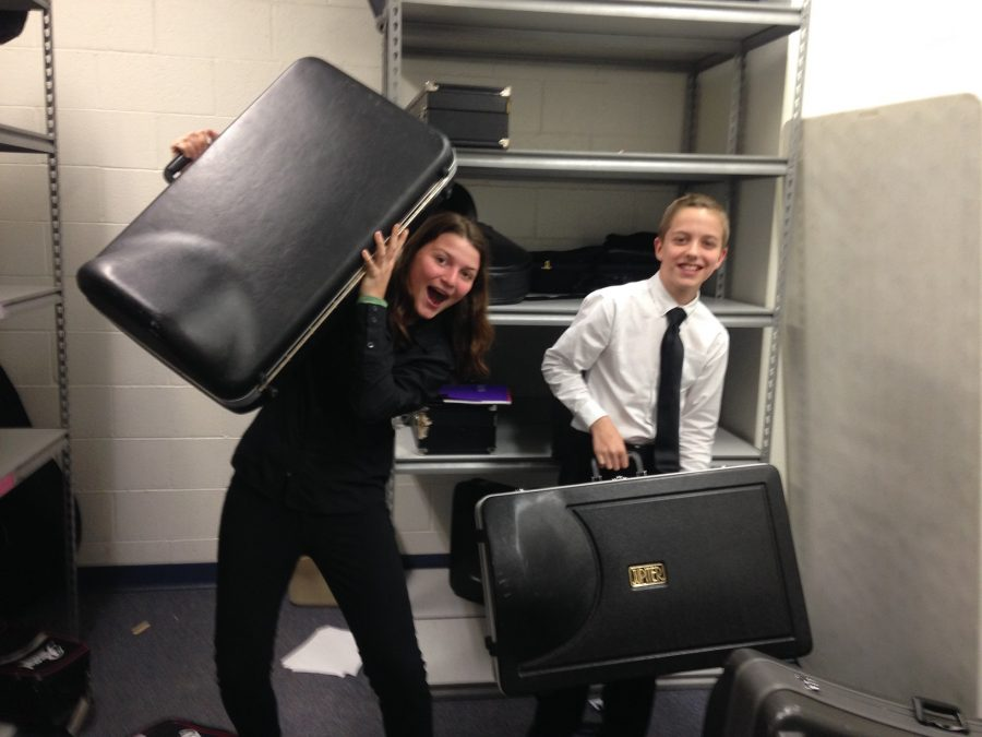 Eighth grader Piper Corey (euphonium, Wind Ensemble) and seventh grader John Minium (baritone, Concert Band) after the big performance.