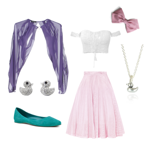 This+Daisy+Duck+DisneyBound+includes+a+white+off-the-sleeve+crop+top%2C+a+poofy+pink+skirt%2C+a+purple+cape-like+shawl%2C+teal+flats%2C+a+signature+pink+bow%2C+a+duck+necklace%2C+and+duck+earrings.
