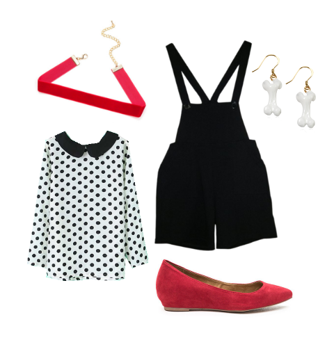 This+101+Dalmations+DisneyBound+includes+black+overalls%2C+a+polka+dot+collared+shirt%2C+red+flats%2C+a+red+choker%2C+and+dog+bone+earrings.