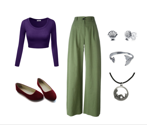This+Ariel+DisneyBound+includes+a+long+sleeve+purple+crop+top%2C+flowy+green+pants%2C+red+flats%2C+seashell+earrings%2C+a+mermaid+tail+ring%2C+and+a+mermaid+necklace.