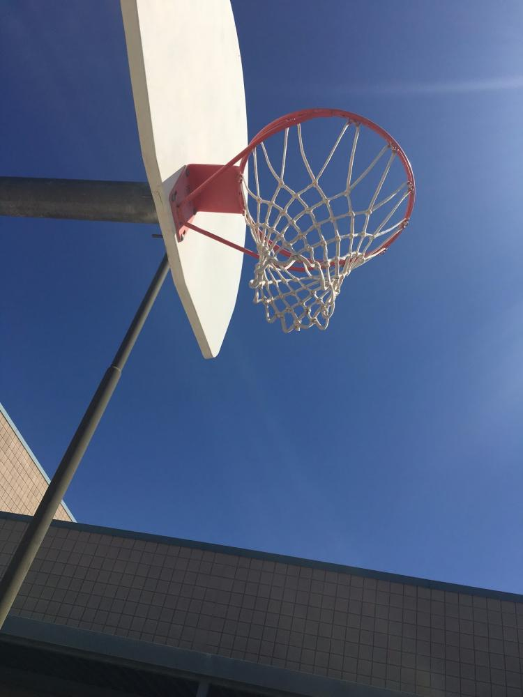 The basketball hoops in the middle school courtyard should be utilized during lunch.