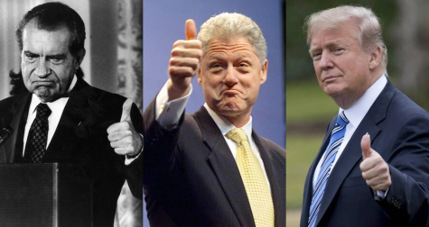 Former President  Richard Nixon on the far left, former president Bill Clinton in the center, and President Donald Trump on far right.