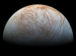 An image of the moon Europa.