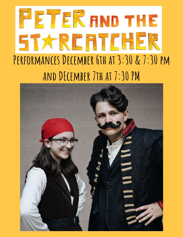 "Juniors Lauren Taylor and Abe Newsum as ""Smee"" and ""Black Stache."""