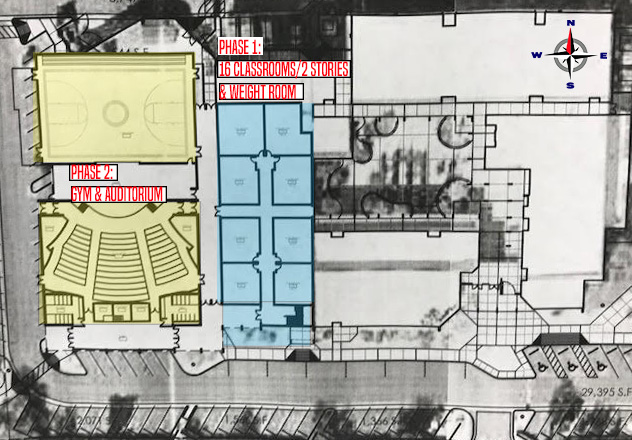 A map of the Horizon Honors secondary side, showcasing where the updated buildings are planned to be.