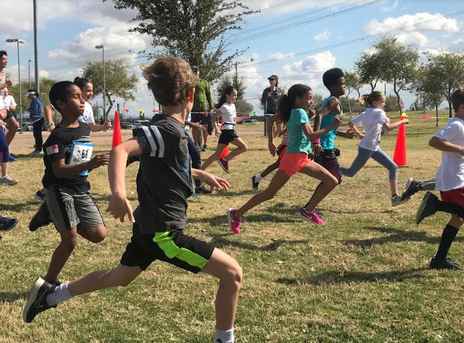 Since the students started off the run, Horizon Honors students of all ages covered as much ground as possible before the adults started on the course.