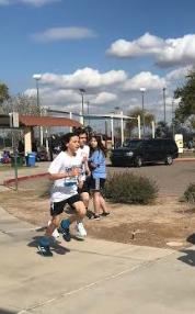 Eighth grader Jaxon  Powers taking an early  lead.