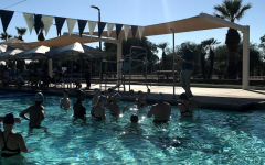 The Horizon Honors Swim Team doing the team cheer after a successful meet.