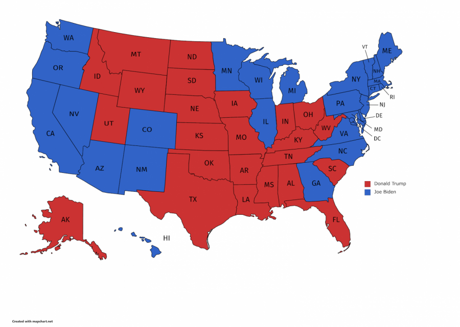 A map of the electoral votes for the 2020 presidential election.