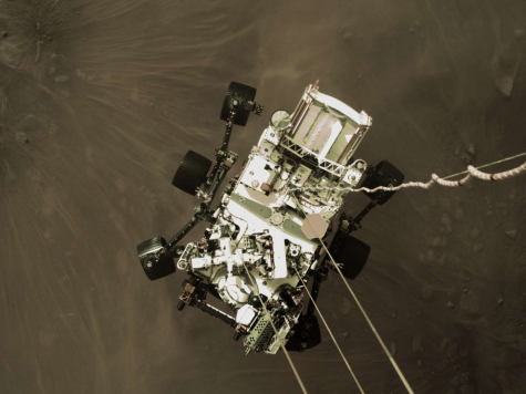 Part of a video from NASA of the Perseverance rover landing on Mars.