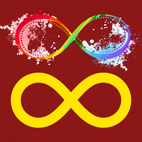 The rainbow infinity loop, used to symbolize autism and the autistic community, the gold infinity loop, part of the #LightItUpGold campaign, and a red background, to support the #RedInstead campaign.